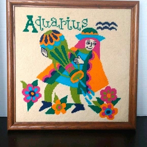 Aquarius needlwork solid oak wood frame